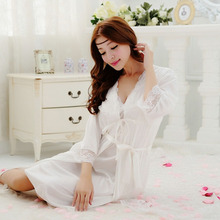 Free transport ladies lace Large dimension lengthy nightdress pajamas plus dimension gown units bathrobe Sleepwear nightgown night time costume A890-1