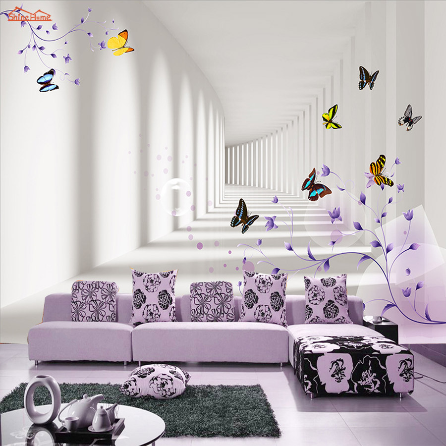 ShineHome-Fashion Butterfly in 3D City Embossed Wallpaper 3D Room for Livingroom 3 d Wall Paper Covering Household Murals Rolls shinehome city building wallpaper black and white 3d murals for walls 3 d wallpapers for livingroom kids 3 d mural roll room