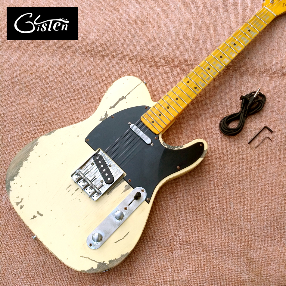 New style high quality relic remains TELE electric guitar, handmade TELE aged relic electric guitar, free shipping custom shop tl electric guitar classical tele 53 relics yellow milk color relic by hands high quality limited issue signature