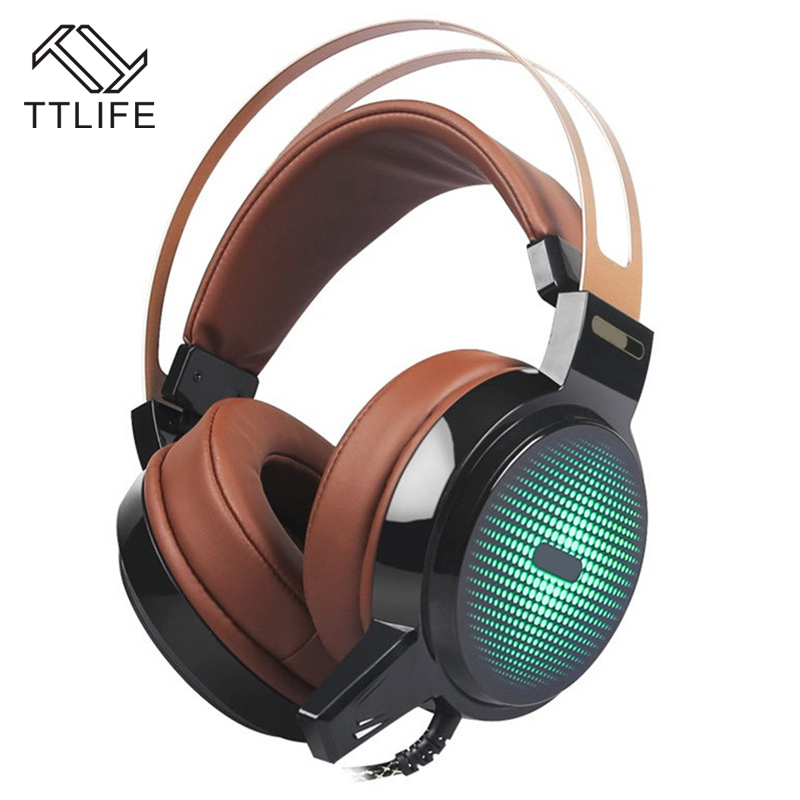 TTLIFE C13 Gaming Headset Stereo Deep Bass RGB Headphone Computer Headsets With Microphone LED Light for Computer Gamer LOL each g8200 gaming headphone 7 1 surround usb vibration game headset headband earphone with mic led light for fone pc gamer ps4
