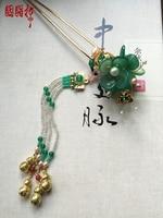 Green Agate Round Bottle Tassel Hair Stick Vintage Chinese Handmade Hair Jewelry Hanfu Cos Hair Accessory