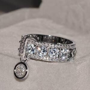 Wedding-Rings Jewelry White Zircon Gold Filled Vintage Rose Fashion Women Luxury Engagement