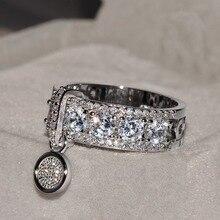 Anillo de compromiso de circonita blanca de lujo de joyería de moda para mujer con anillos de boda rellenos de oro rosa Vintage de nueva llegada