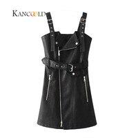 KANCOOLD 2017 Fashion PU leather dress women V neck mini sexy dress Sash zipper winter black short dress sundress vestido Sep26