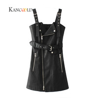 KANCOOLD 2017 Fashion PU Leather Dress Women V Neck Mini Sexy Dress Sash Zipper Winter Black