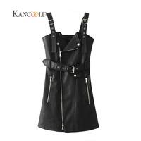 KANCOOLD 2017 Fashion PU Leather Dress Women V Neck Mini Sexy Dress Sash Zipper Winter Black