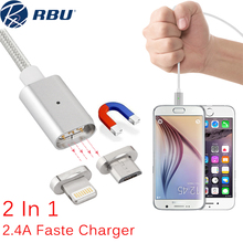 1M 2 in 1 Magnetic Fast Charger Cable Lightning Magnet Micro USB Charging Power Nylon Cable For iPhone 5 6 7 For Samsung Android