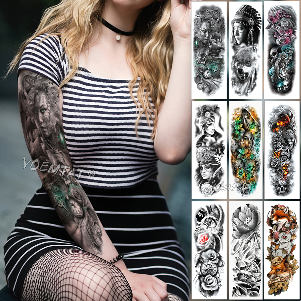 Large Arm Sleeve Tattoo Compass Rudder Waterproof Temporary Tattoo Sticker Boat Ocean Men Full Bird Skull Tatoo Women