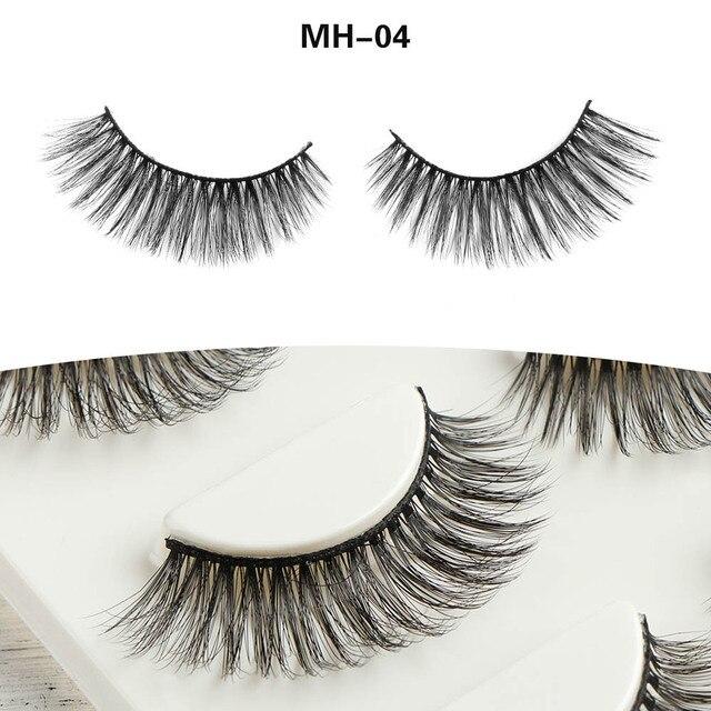 3 Pairs/Set Natural Long Thick Curly Mink Hair False Eyelashes Make up Cross Cilia Fake Eye Lashes  Extension Beauty Makeup Tool False Eyelashes