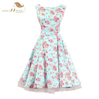 High Quality Sishion Audrey Hepburn Vintage Dress Sleeveless Tank Swing Floral Print Elegant Summer Dresses Plus