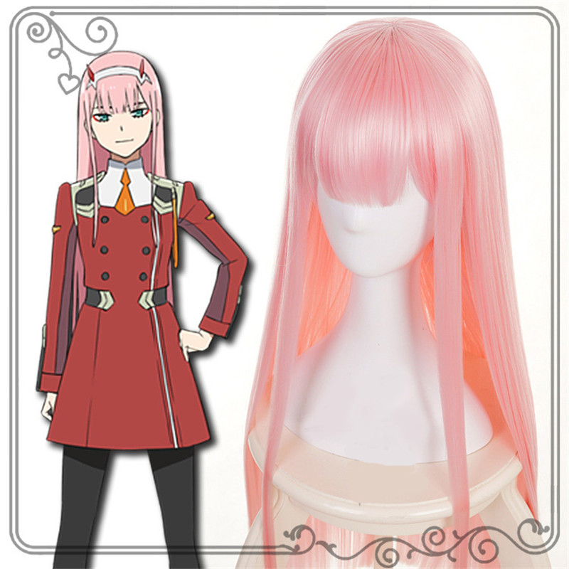 Takerlama DARLING in the FRANXX ZERO TWO CODE 002 Cosplay Wig Costume Accessory 100cm Long Straight Pink Women Girls Anime Hair