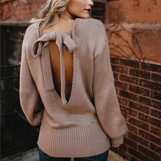 סקסי ללא משענת נשים בסוודרים סרוג סוודר אופנה אביב Loose O-צוואר חמוד סוודר עם קשת עבור נשים