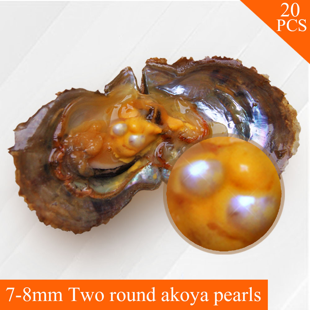 AAA 7-8mm round Akoya twins pearl in oysters pearl with vacuum package 20pcs, free shipping via UPS cluci free shipping get 40 pearls from 20pcs 6 7mm aaa blue round akoya oysters twins pearls in one oysters