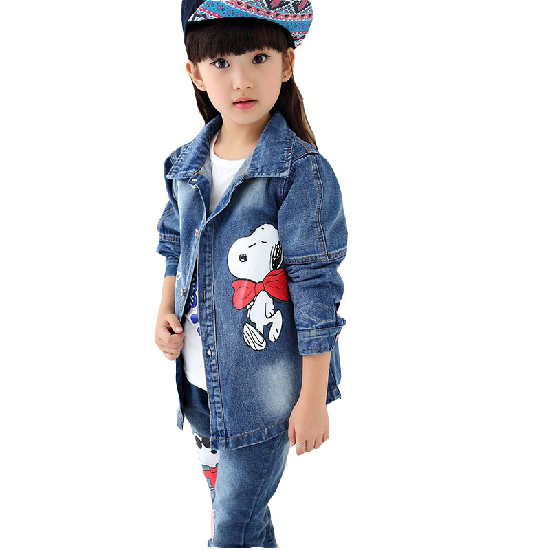 2017 Autumn Children Clothing Set Girls Cartoon Fashion Suit Denim Coat Pants Two Piece Set 5 14 Age Girls Clothes Teenage Kids