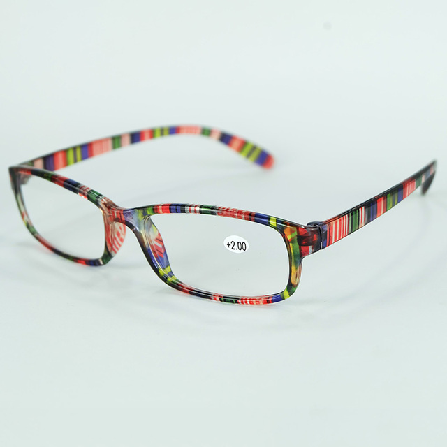Olders Cheap Comfortable Reading Glasses Simple Colorful Plastic Frame With Power Lenses