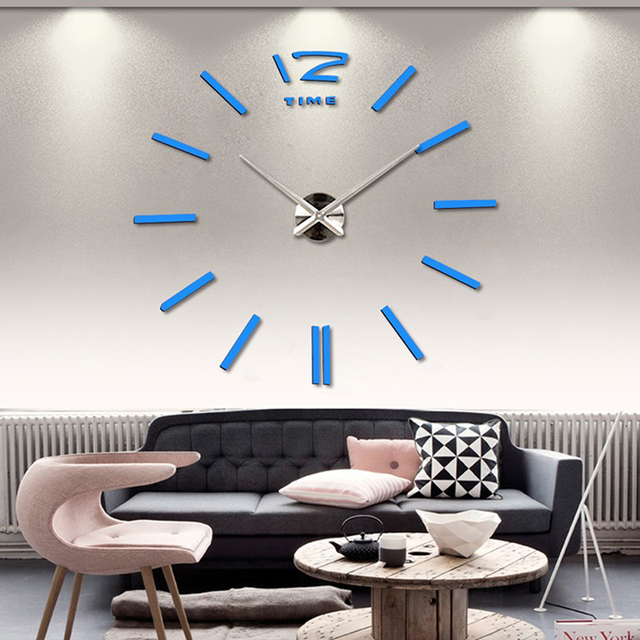 Luxury Wall Clock Living Room DIY 3D Home Decoration Mirror Large Art Design