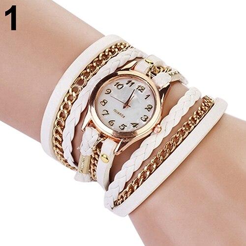 Women Casual Vintage Braided Multilayer Weave Faux Leather Bracelet Wrist Watch Store 51 сандалии ella ella el023awebc09