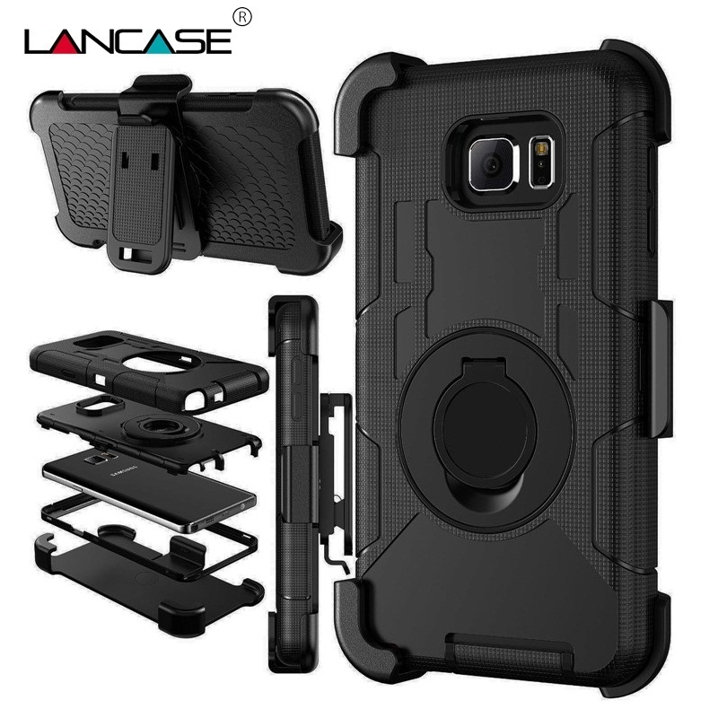 For Samsung S7 Case Silicone 3 in 1 Military Belt Clip Stand Case For Samsung Galaxy S7 Edge S6 S5 Note 5 Shockproof Phone Cases