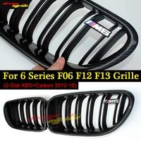 For BMW 6 series f06 f12 f13 640i 650i 640d carbon fiber black m sport abs front bumper grill racing grille m6 emblem 2012 16