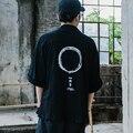 2016 Moda de Rua Mens Camisas de Colarinho Bordado Quimono Japonês Estilo Hip Hop Camisa Noragi Kimono Hombre Camisa