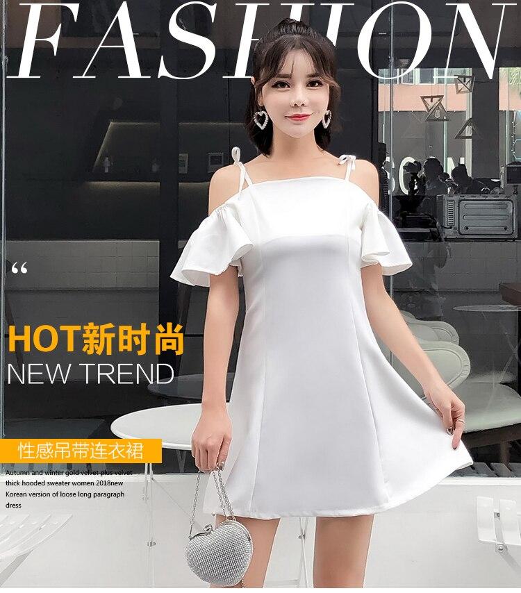 182c62297c Women s Ruffled A Line Dresses Cute Bow Tie White Tunic Style Korea Cute  Open Short Ruffle Sleeve Off Shoulder Mini Dress 6007 ...