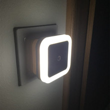 Minilâmpada noturna com sensor, iluminação quadrada colorida com tomada automática da ue e eua, para quarto do banheiro