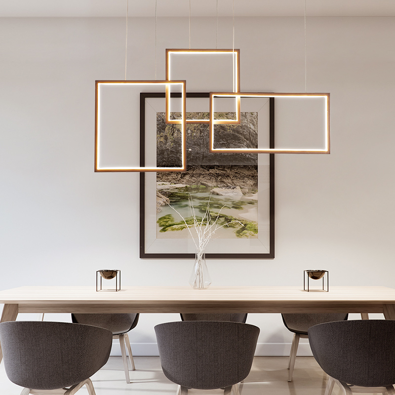 Nordic style restaurant chandelier simple modern bedroom square geometric shape led lamps home warm personality lighting