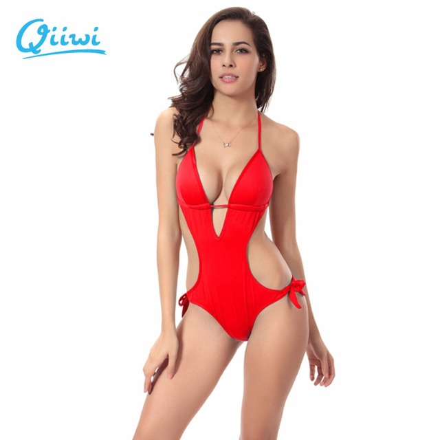 10c6392d7eb95 2019 Women Bikini Set Push up Deep V-neck Sexy One-pieces bikini brazilian Swimwear  Bathing Suit Charm Beachwear with Padding