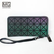 MANSURSTUDIOS Women  Long zipper Wallets, Diamond lattice noctilucence standard long purse ,free shipping