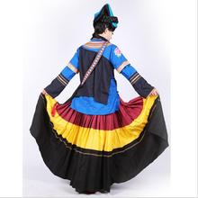 China Ethnic Minority Outfit Black Yi Dance Costume Female Nationality Garment TV Movie Film Clothing