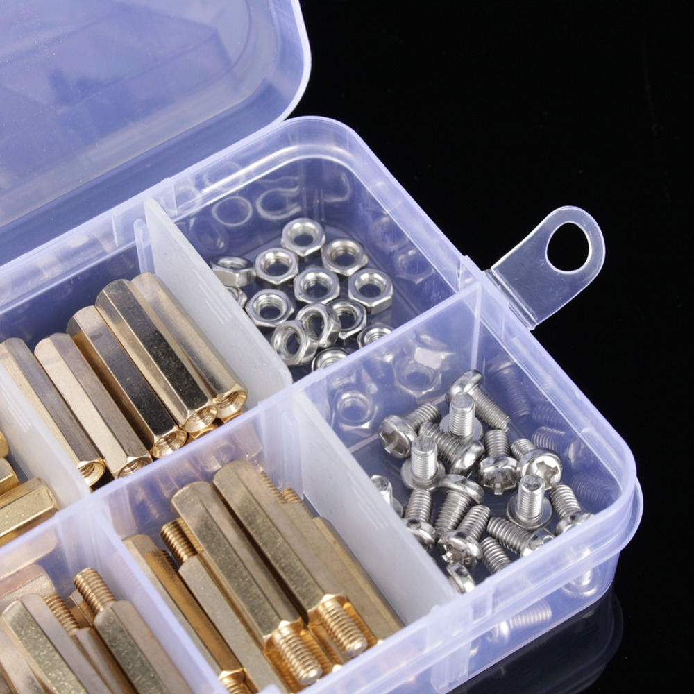 120Pcs M3 Male Female Brass Standoff Spacer PCB Board Stainless Steel Hex Screws Nut Assortment Kit Hardware High Quality dreld 240pcs m3 m2 hex male female thread brass spacer standoffs screw hex nut assortment set kits with 2 plastic box