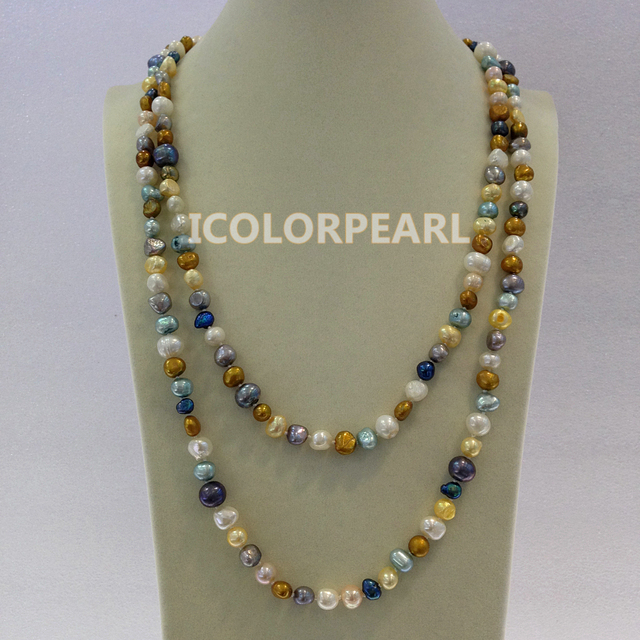 120-125cm Long 7-8mm irregular Multicolor Natural Freshwater Pearl Opera Necklace