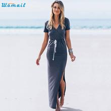 2016 Summer Dress Women V Neck Short Sleeve Furcal Long Maxi Dress Vestidos Beach Dresses Amazing S M L XL