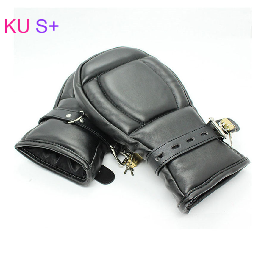 Bdsm Sex Adult Game Locking Goth Padded Mittens Gloves Dog Paw Palm Leather Bondage Restraints Sex