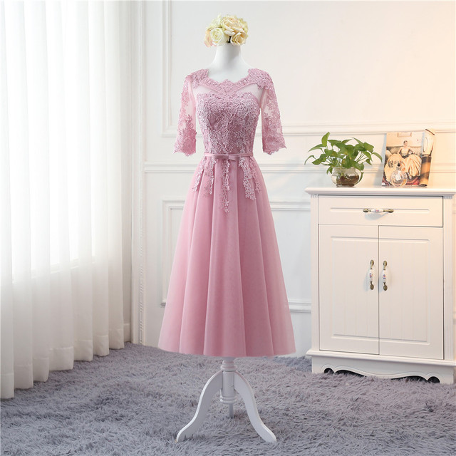 Robe De Soriee New Bridesmaid Dresses Half Sleeve Long Lace Illusion Neck Dusty Pink Blue Champagne Grey Fromal Prom Gown Cheap