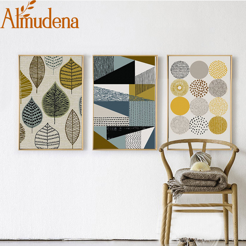 ALMUDENA Abstract Geometric Canvas Paintings Nordic Posters Prints Wall Art  Oil Pictures For Living Room Home