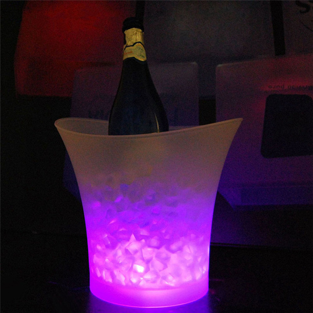 Portable waterproof plastic ice bucket with led lights 5 colors 5 portable waterproof plastic ice bucket with led lights 5 colors 5 liter for bars night clubs mozeypictures Choice Image
