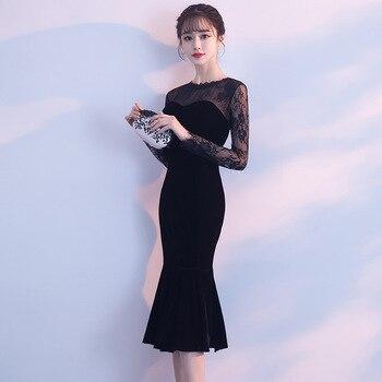Black Lace Short Chinese Oriental Party Wedding Female Cheongsam Bridesmaid Evening Dress Elegant Celebrity Banquet Dresses