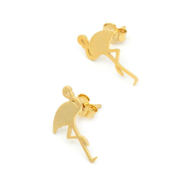 Jisensp 2017 New Fashion Cute Animal Flamingo Stud Earrings for Women Party Earrings Wedding Gifts pendientes E091