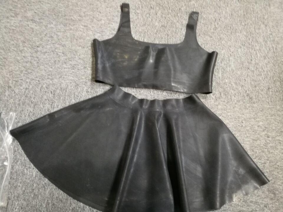 Handmade latex bra and skirt set fetish clubwear rubber latex clothing set