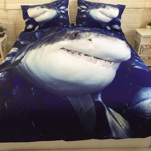 3D Shark Printed Bed Linen Bedding Sets Comforter Bed Cover Quilt Duvet Cover Set Queen King Size Bedding Double Single Sheets