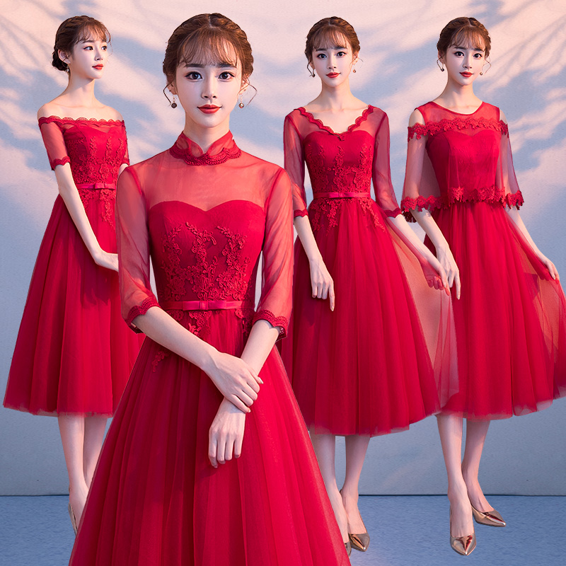 2018new stock plus size women pregnant wedding party   Bridesmaid     Dresses   backless lace sexy romantic A line red   dresses   abe520177