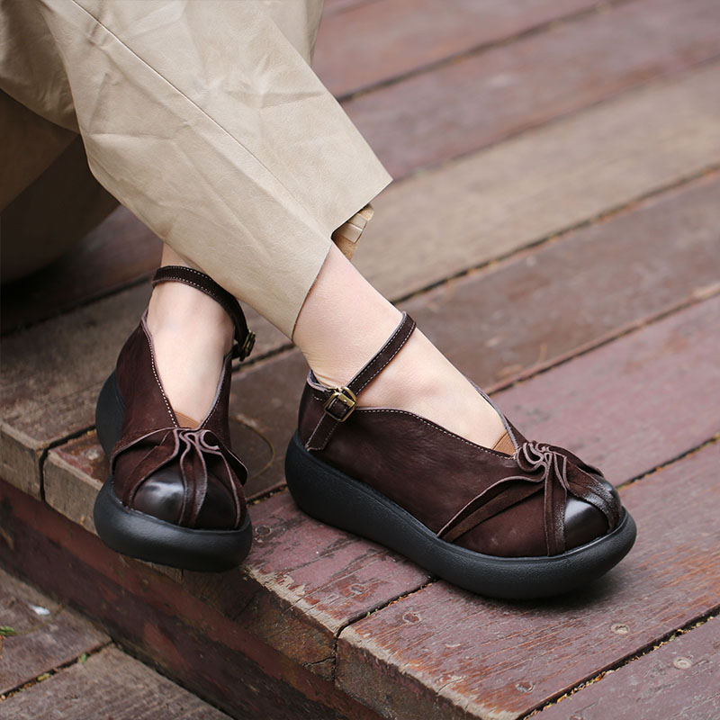 VALLU 2018 véritable cuir femmes appartements plate forme bout rond cheville sangle à la main Vintage femmes chaussures plates-in Chaussures plates femme from Chaussures    3