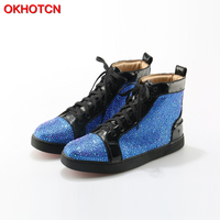 OKHOTCN Men Shoes Patent Leather Blue Luxury Crystal High Top Men Shoes Flat Lace Up Black