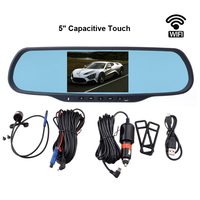 5 Touch Screen Car Rearview Mirror With DVR And Camera Dual Lens Wifi GPS Android Mirror