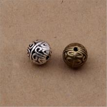50pcs/lot Antique Silver/Bronze Loose Beads Round Metal Spacers fit DIY Charm Bracelets Necklace Jewelry Making Z449