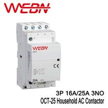 OCT-25 Series AC Household Contactor 400V 50/60Hz 3P 16A/25A Contact Form 3NO Three Normal Open Contact Din Rail Contactor