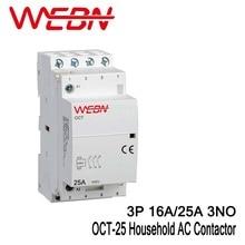 цена на OCT-25 Series AC Household Contactor 400V 50/60Hz 3P 16A/25A Contact Form 3NO Three Normal Open Contact Din Rail Contactor