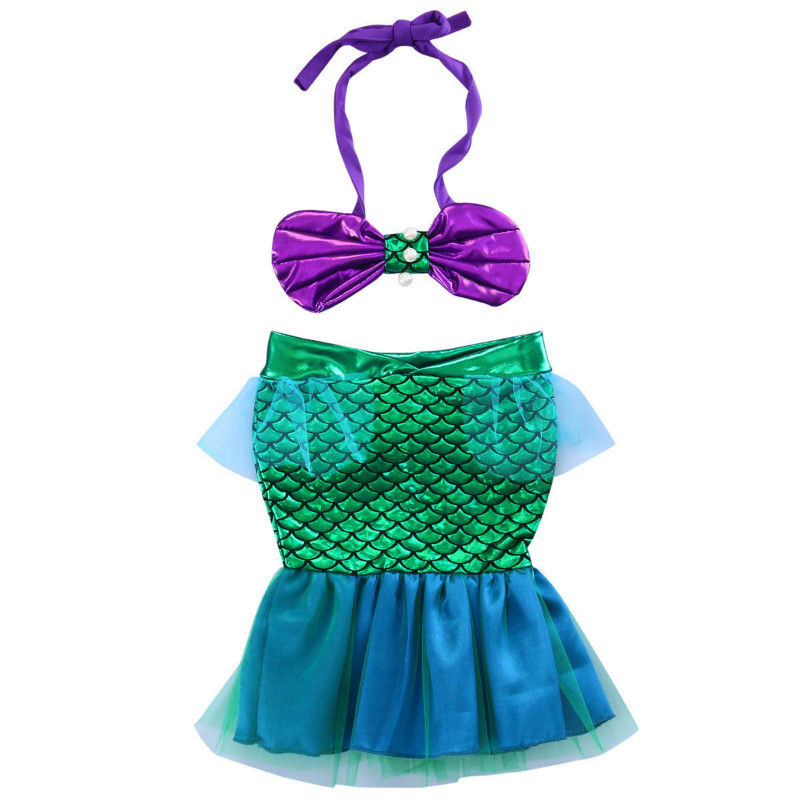 0-3Y Sequins Newborn Toddler Baby Girls Kids Halter Top + Little Mermaid Tail Lace Dress Outfits Sunsuit Summer Costume 2PCS Set 2017 sequins mermaid newborn baby girl summer tutu skirted romper bodysuit jumpsuit headband 2pcs outfits kids clothing set