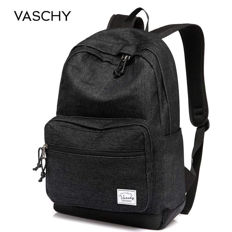 VASCHY Lightweight Denim 15 Inch Laptop Notebook Backpacks Women Travel School Rucksack Mochila bookbag for man